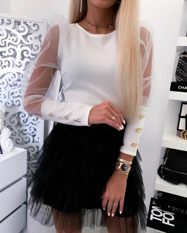 Camicie Meihuida 2020 donne Estate Autunno Collo mesh Puff lunghe maniche puro Maglione Pullover superiore Camicetta