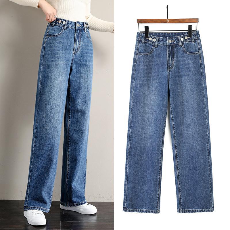 2020 Nova cintura alta Mulheres Hetero perna larga outono Jeans Moda Feminina Simples sólida Casual cor soltas Denim Trousers