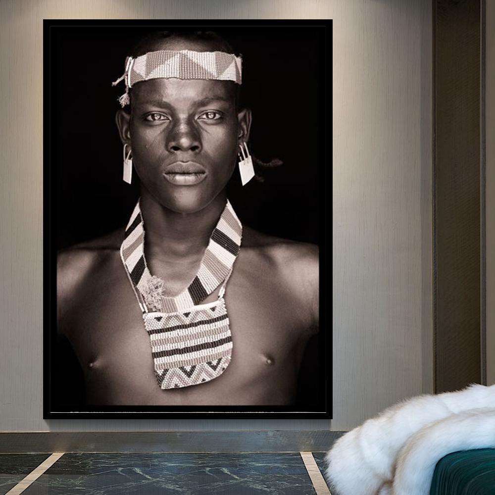 الرجل الأفريقي جدار الفن صورة ديكور المنزل الأسود وملصقات بيضاء وأختام غرفة المعيشة قماش اللوحة جدار صور