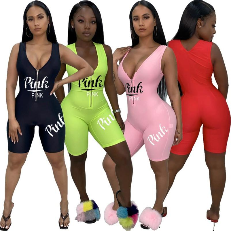 Women designer jumpsuits bodycon brand rompers playsuit one piece shorts new hot selling female clothing sexy letter jumpsuits klw3516