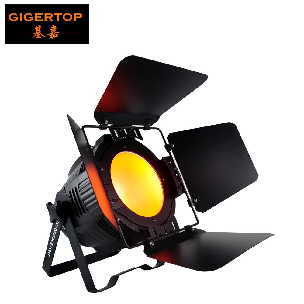 Gigertop TP-P61 200W COB 광문 LED 파 라이트 알루미늄 하우징 광문 조정 3PIN DMX / 출력 소켓 실내 온난 한 백색 차가운 백색