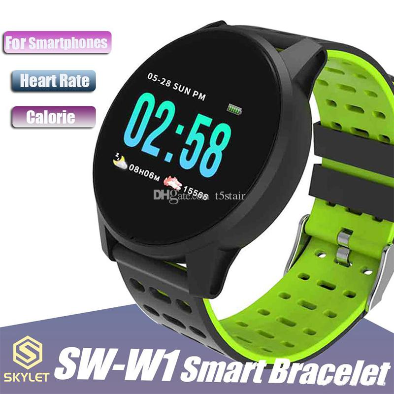 W1 смарт-часы SW-W1 Bluetooth Беспроводной смарт-браслет с сообщением о вызове сердечного ритма для мобильных телефонов Apple IOS Android с розничной коробкой