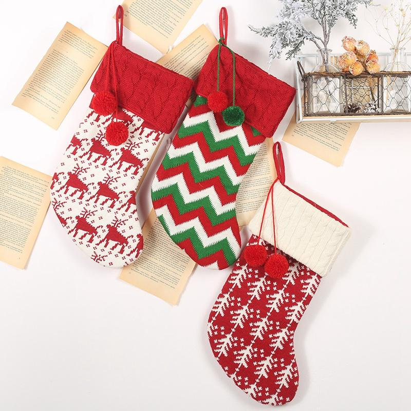 Big deal New Christmas Stockings Gift Bag Knitted Wool Socks Christmas Tree Ornaments New Year Kids Gift xmas Candy Apple Large