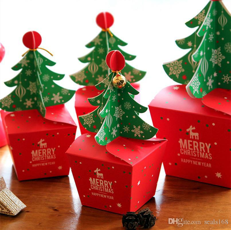 3D-Weihnachtsbaum-Geschenk-Box mit Bell-Papier-Süßigkeit-Kasten DIY Plätzchen Cholocate Papier Apple-Box Frohe Weihnachtsdekoration Verpackung HH9-A2567