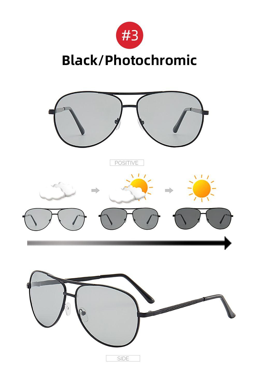 Farbwechsel-Sonnenbrille-Männer Pilot Driving Photochromic Gelb polarisierte Frauen Sun-Glas Aviation Day und Night Vision