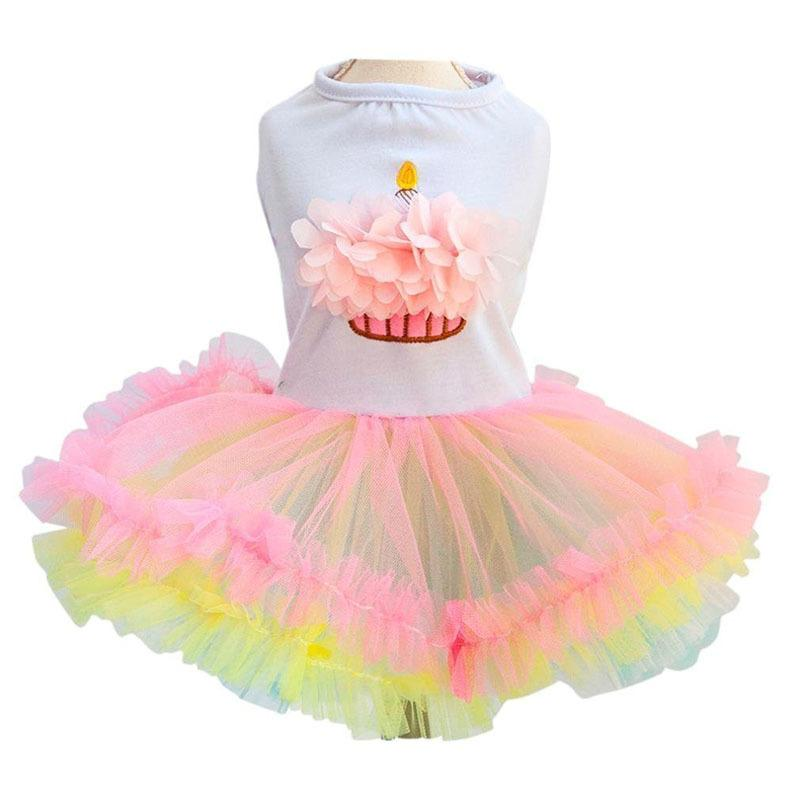 Cute Dog Tutu Dress For Girls Dogs Puppy Princess Dress Colorful Lace Skirt Pet Clothes Cupcake Apparel For Doggy Xs S M L Xl