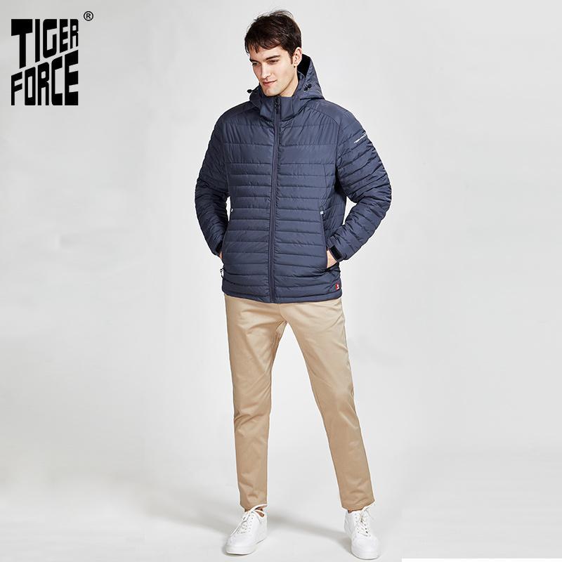 Tiger Force 2020 nuevos hombres de las chaquetas de rayas bolsillos de alta calidad eliminando cálida capucha abrigo de Casual Male prendas de vestir exteriores de la cremallera 50629