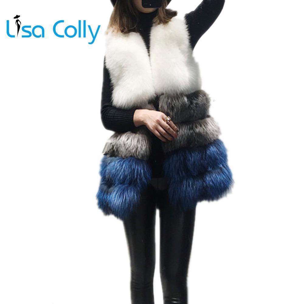 Lisa Colly Yüksek Kaliteli Kadınlar Kürk Yelek Sahte Yelek Coat Kış Kürk Kadın Ceket Palto Isınma Coat