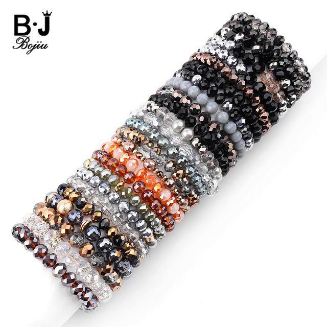 Trand Bracelets BOJIU 26 Couleurs élastiques Facettes Perles de Cristal Bracelets pour les femmes d'or noir argenté blanc Violet Yelllow clair Bracelet ...