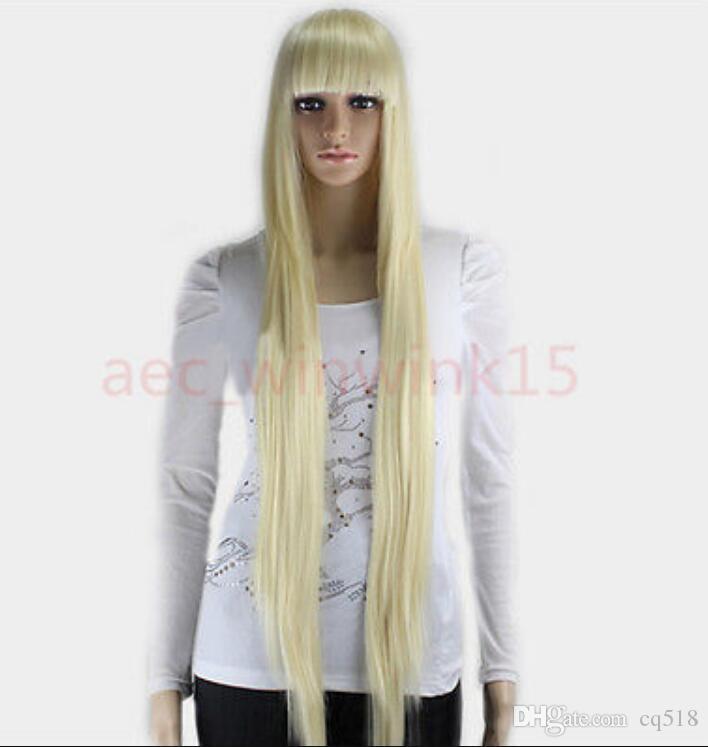 WIG WBY Prix de gros Vente Chaude TSC ^^^^^^ New Fashion Cosplay POP Blanc Blonde Longue Ligne Droite Femmes Full Wigs 100CM