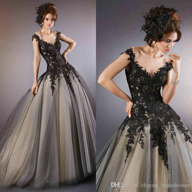 2019 Vintage Black Lace A Line Vestidos de novia Sheer Neck Cap Sleeves Por encargo Vestidos de novia góticos baratos para vestidos de iglesia