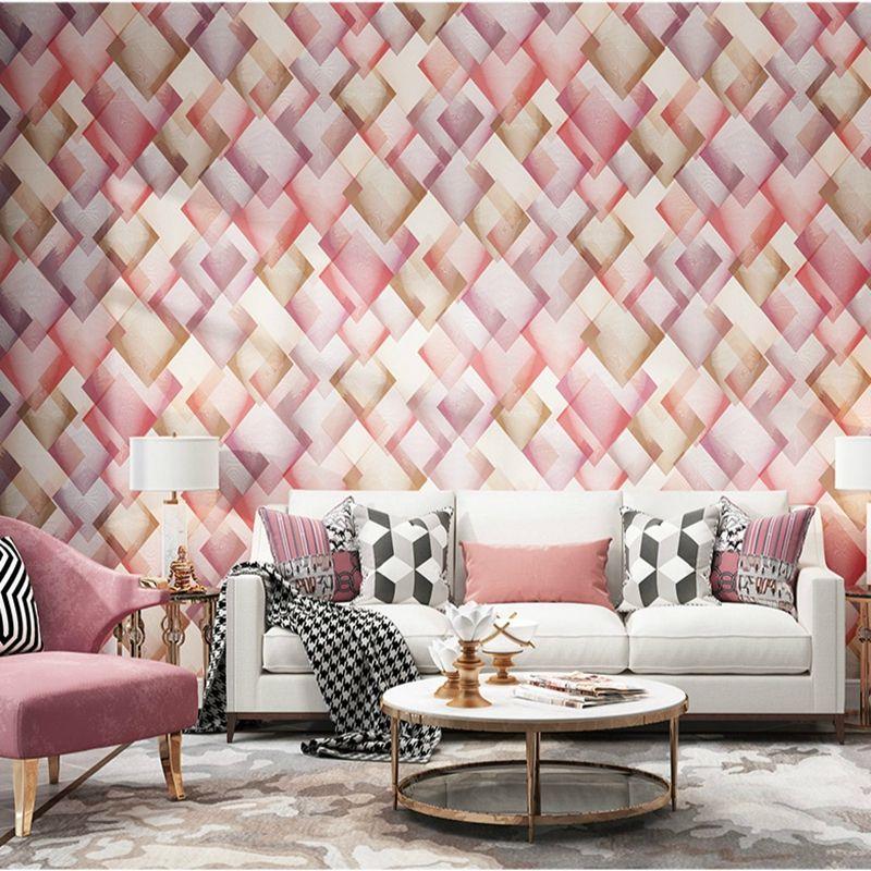 Декор Современной Новой моды Геометрической абстрактная Lattice Обои Розового Зеленый Фиолетовый Золотой Нетканые Цвет Дизайн Обои Спальня