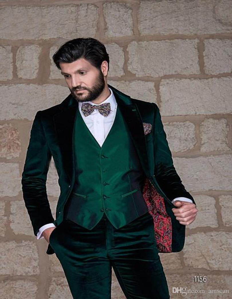 Latest Coat Pant Designs Italian Green Velvet Men Suit Slim Fit Groom Tuxedo 3 Piece Blazer Custom Prom Wedding Suits Masculino CY018