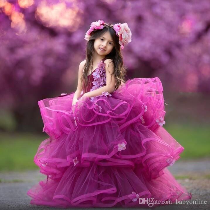 Красивые Tier Layer Оборками Фуксия Платья для Девочек-Цветов 2020 Милые Холтер Шеи Цветы без Рукавов Длинное Формальное Платье Pagenat Для Подростков