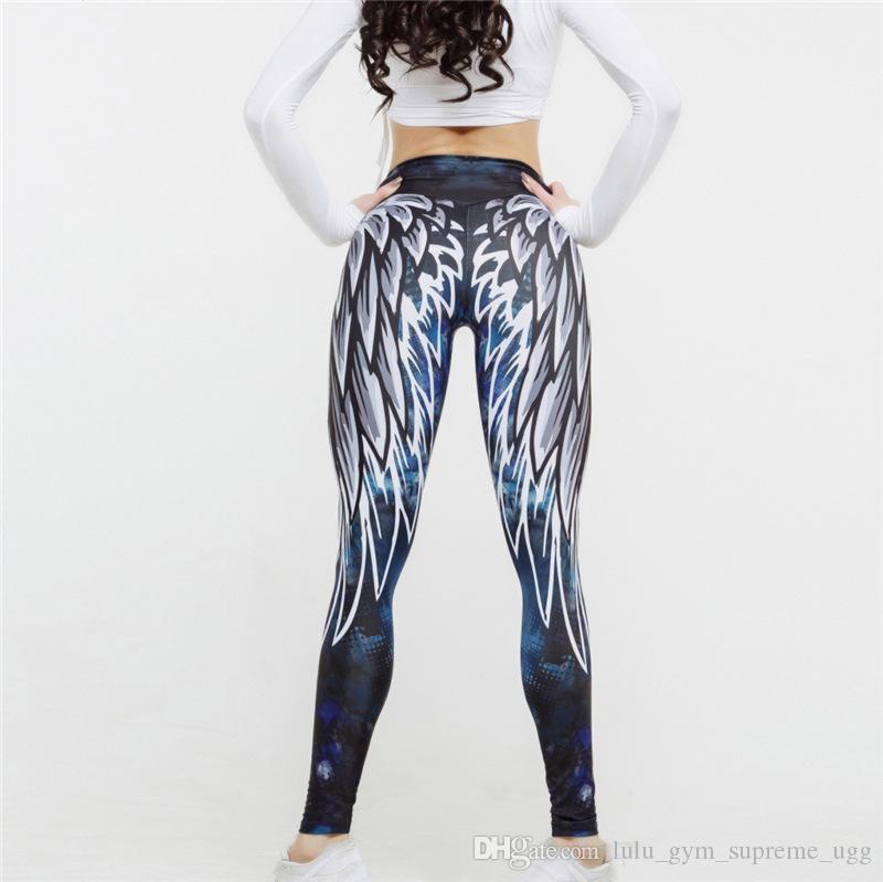 Последние крыла моды женщины ангел печать йог спортивных брюки брюки хип waistyoga верховных нарядов обмундирования для йоги онлайн Спортивное Wearsports платья