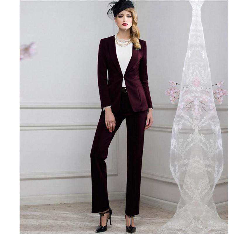 Wine red Women Business Suits Elegant Jacket+Pants Blazer Female Office Uniform 2 Pieces Suits Ladies Winter Formal