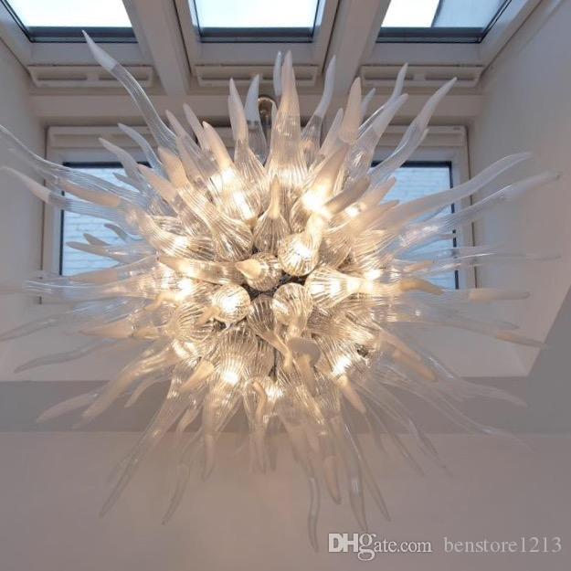 펜던트 램프 100 % 입 붕 규산 마운트 무라노 샹들리에 펜던트 라이트 아트 매달려 투명 실내 조명 날아간 유리 램프