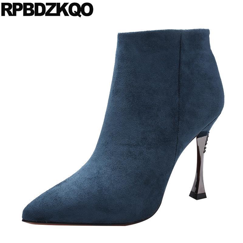 puntiagudo de aguja en punta laterales del tobillo del ante otoño cremallera botas de tacón alto azul caída de invierno las mujeres 2019 zapatos de piel botines