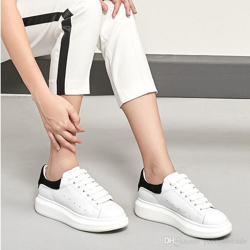 Moda Sneaker takozları Flats Platformu Elbise Loafers Tuval Eğitmenler Beyaz Siyah Kadın Erkek Kız Deri Ayakkabı