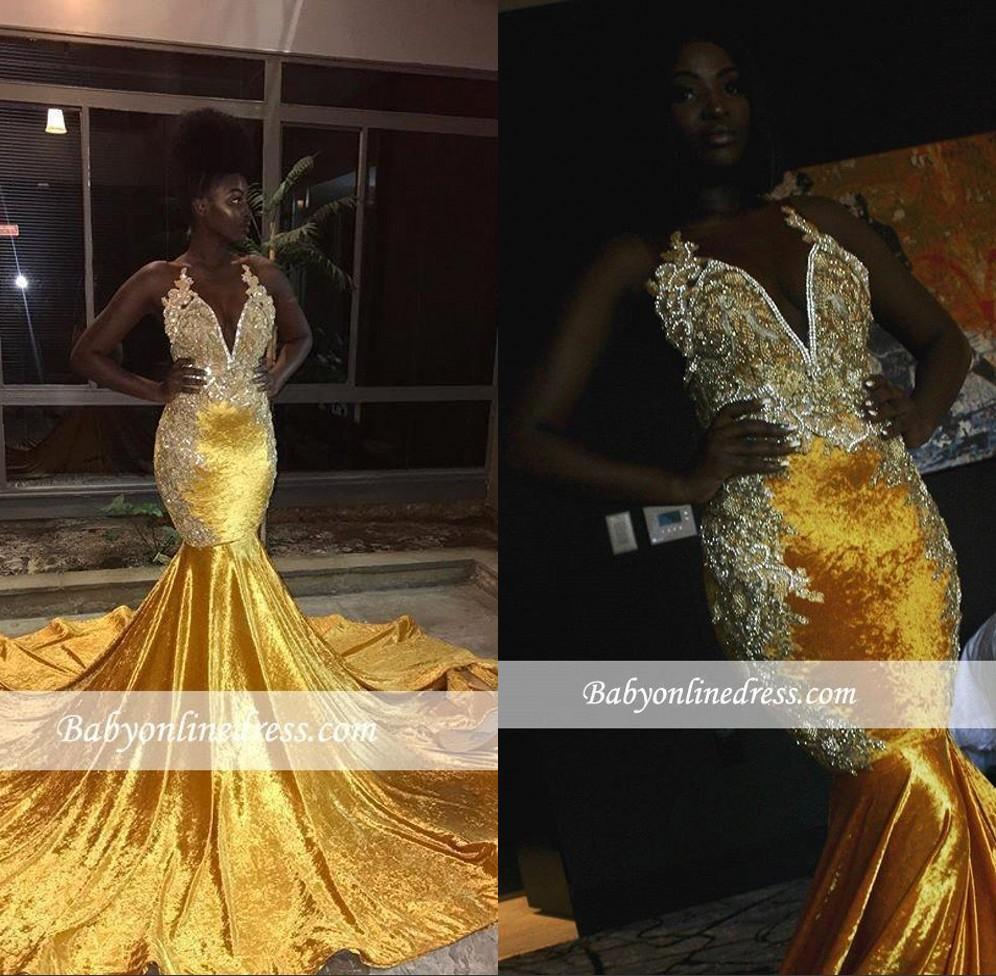 2020 Svart tjej gul sammet långa sjöjungfrun prom klänningar halter v nacke lace applikationer kvällsklänningar Backless sweep train vestidos bc0662