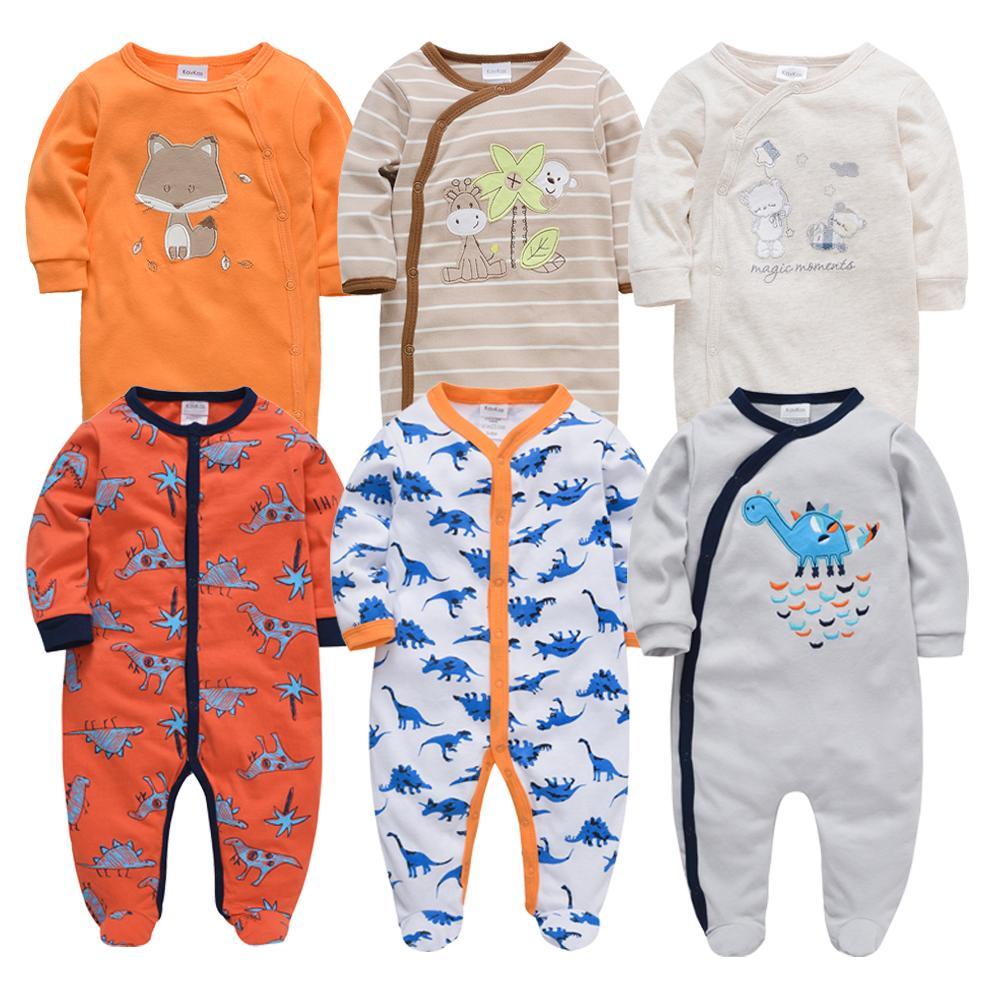 6шт Honeyzone Winter Baby Boy Одежда Хлопок Полный Рукав 3 6 9 12M Baby пижамы Новорожденных девочка мультфильм печати Бебе Body Картера