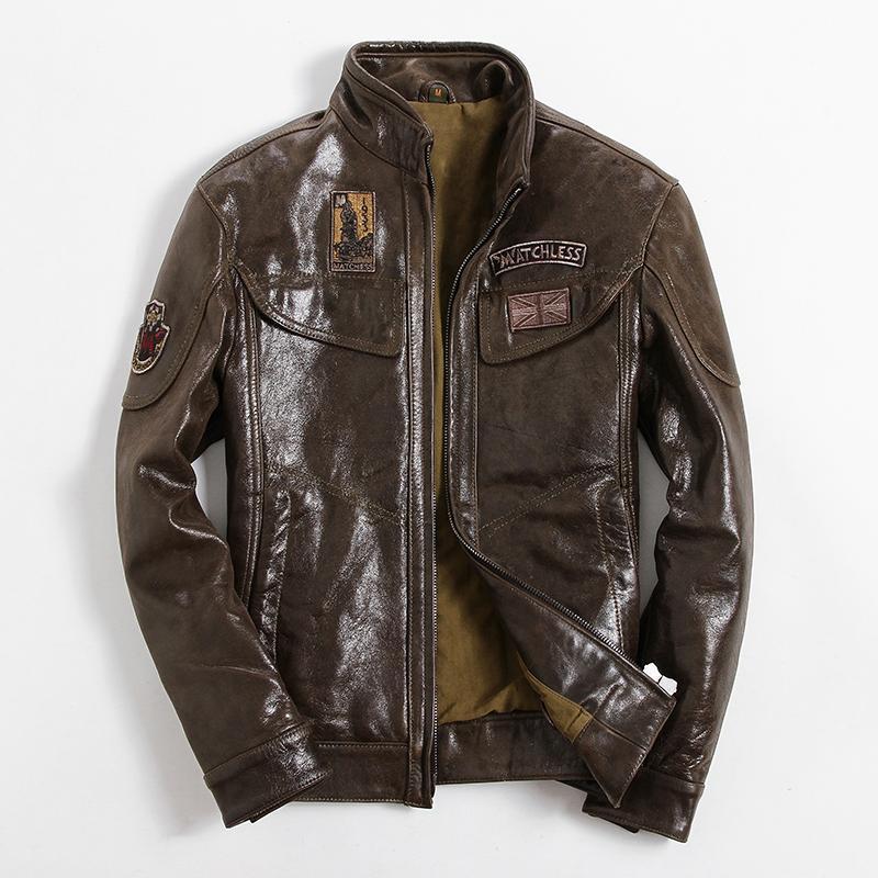 Tcyeek Giacca di cuoio reale di uomini copre 2019 Streetwear Moda Uomo pelle di pecora cappotto Slim Fit Moto motociclista Cappotto Genuine Leather 6001