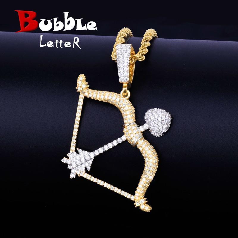 Pfeil und Bogen Form Halskette Anhänger Gold Silber Farbe Iced Cubic Zircon Herren Hip Hop Schmuck mit Tennis Kette J190711