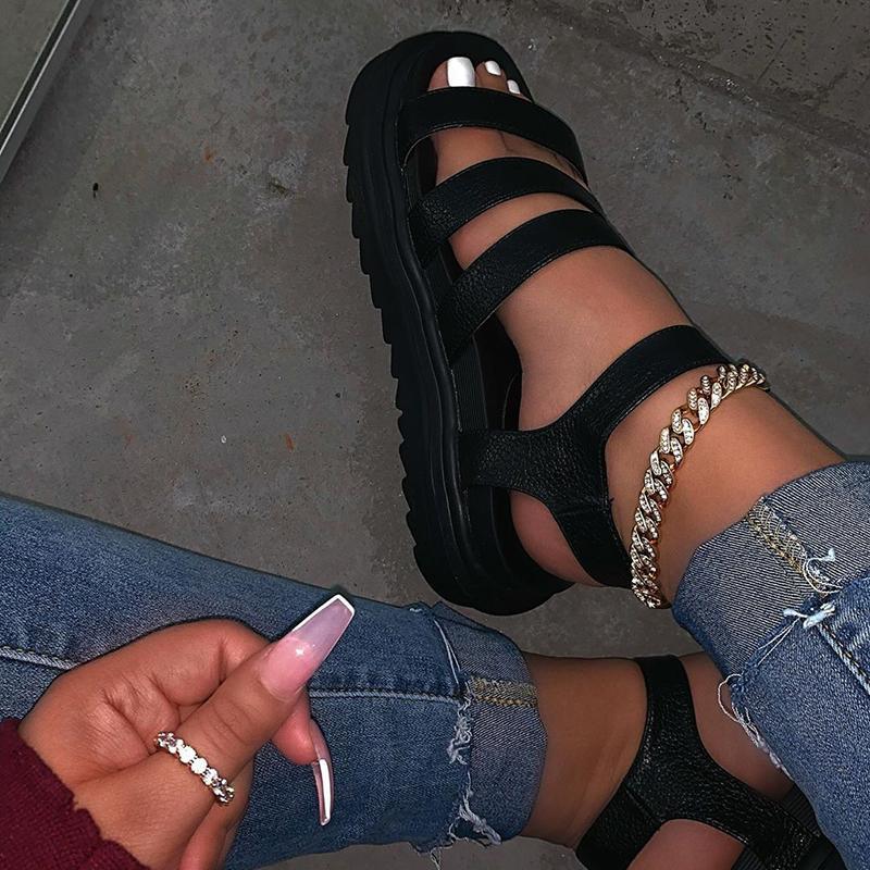 Новые летние женские сандалии с открытым носком пряжкой и платформой ручной работы модные удобные однотонные дикие сандалии плюс размер