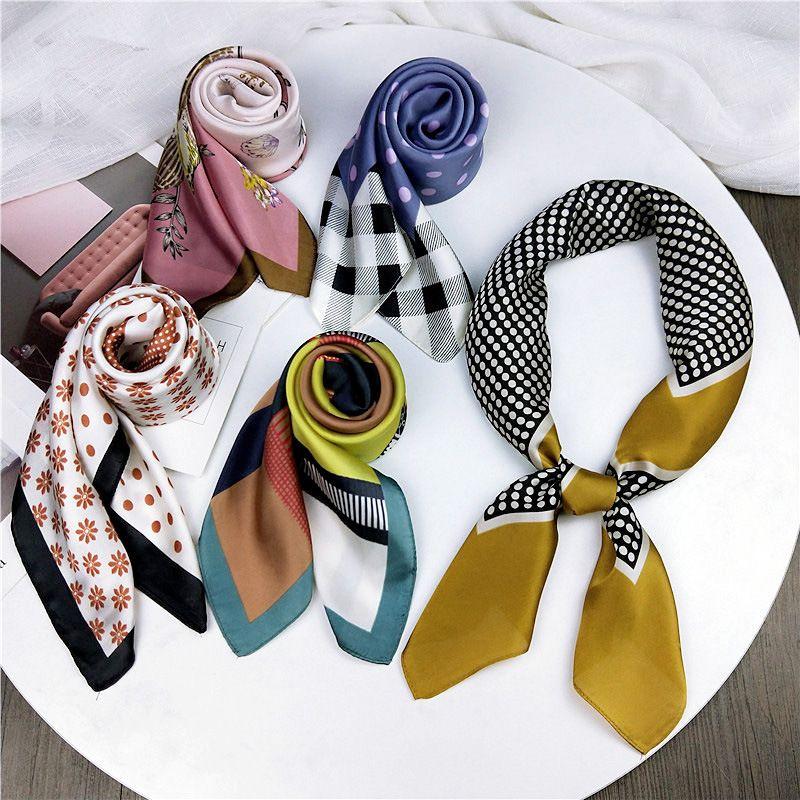 HOT Summer women Silk square Women Scarf Soft Multicolor Printing Kerchief Neck decorative scarfs foulard Apparel Accessories T200609