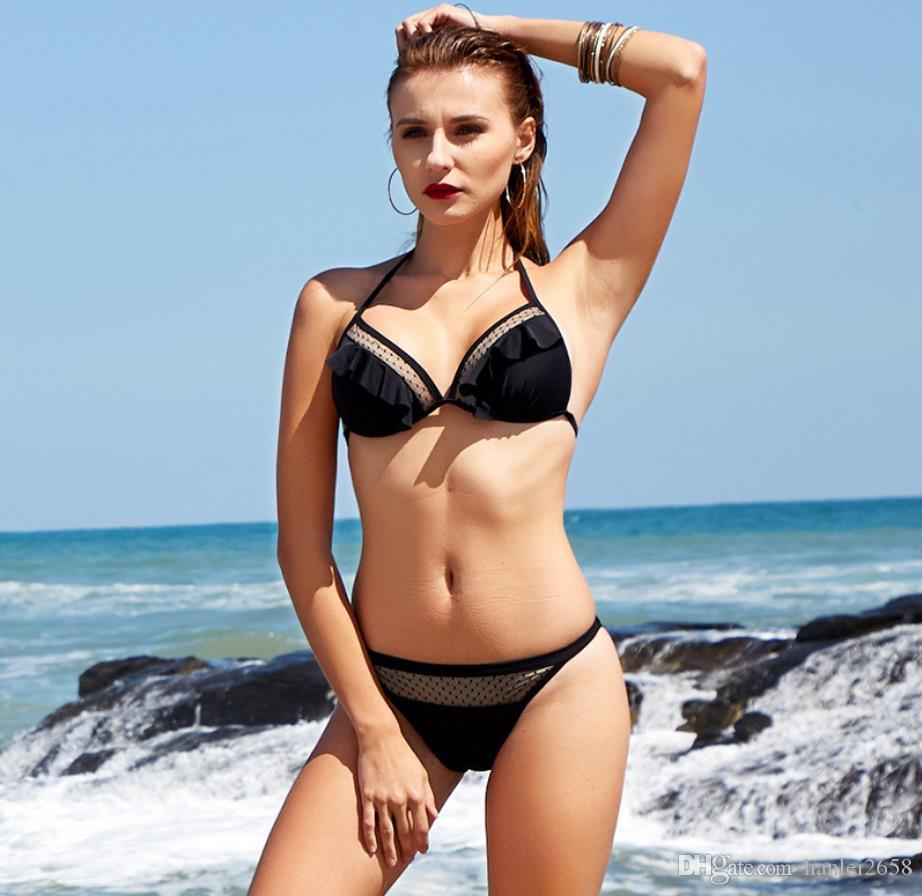 Summer new style foreign trade fast-selling swimsuit net yarn sexy ladies beach bikini split swimsuit sling