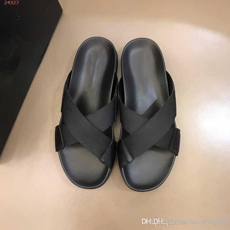 Hombres calientes de verano sandalias planas pantuflas de fondo suave para hombres Ropa de cuero Ocio playa zapatos casuales sandalias 38-45