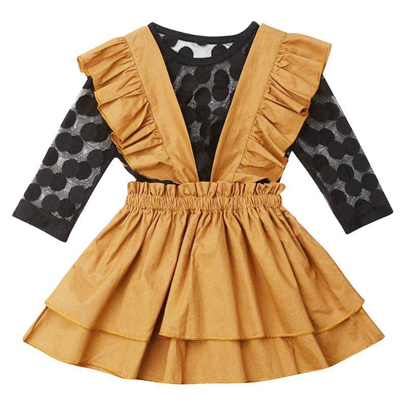 Lunares de malla de manga larga Top + Brown hombro de la cintura de la falda de la correa de conjunto de piezas de dos de los niños