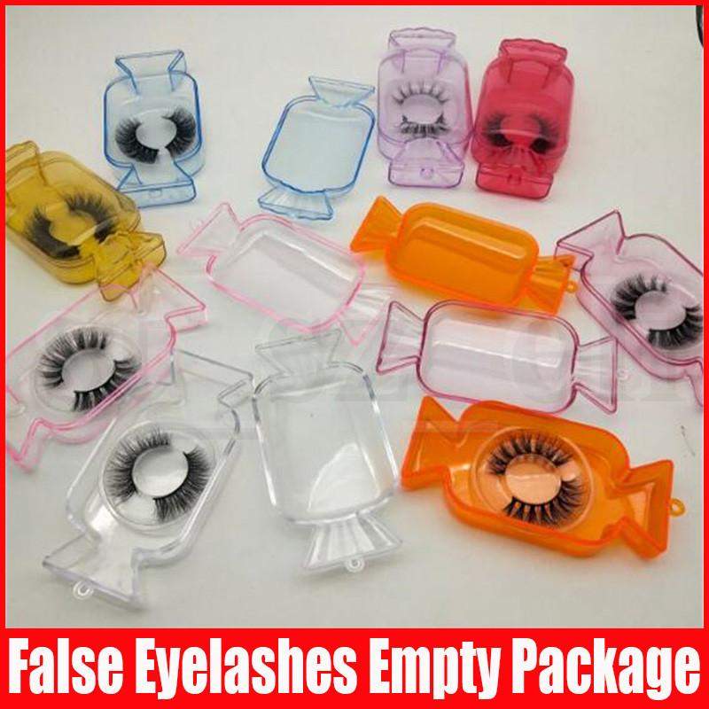 Candy Lashes Package Box 3D Mink Eyelashes Boxes Fake False Eyelashes Packaging Case Empty Eyelash Box Cosmetic Tools
