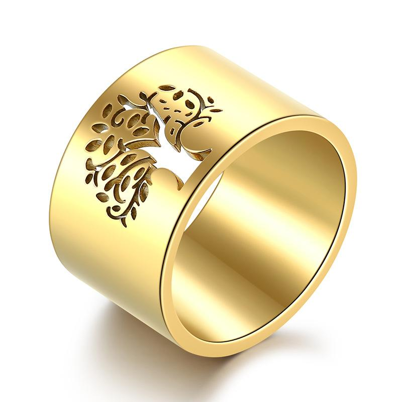 316 Stainless Steel Lady's Religious Tree Of Flower Ring Egypt Tree Of Life Ring Jewelry Items For Women 14mm Wide