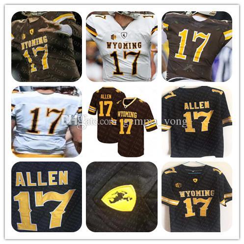 NCAA Men Wyoming 17 Josh Allen Football Jersey Brown White Cheap Stitcehd College Football Jerseys Custom Wholesale Size S-4XL