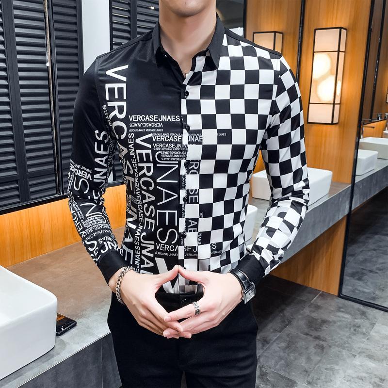 Vestuário dos homens da tendência da Primavera e Verão Plaid Impressão Homens Cor de mangas compridas Camisa Casual fino de algodão Luz Street Fashion