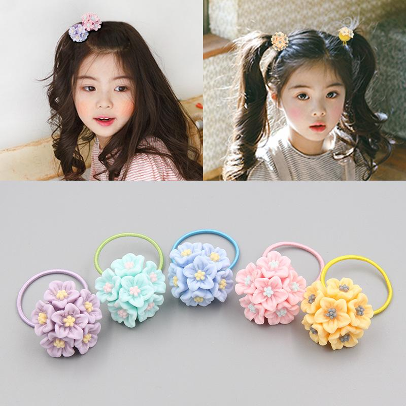 Cute flower Hair Ropes children sweet rubber band hair ring little girl band Ponytail Holders accessories Headwear