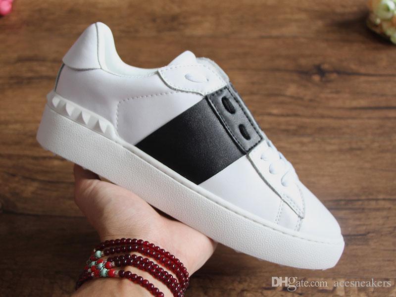 Offene Designer Schuhe Top Qualität Weiß Herren Paar Echtes Leder Designer Sneaker Marke Bunte Streifen Freizeitschuhe für Frauen