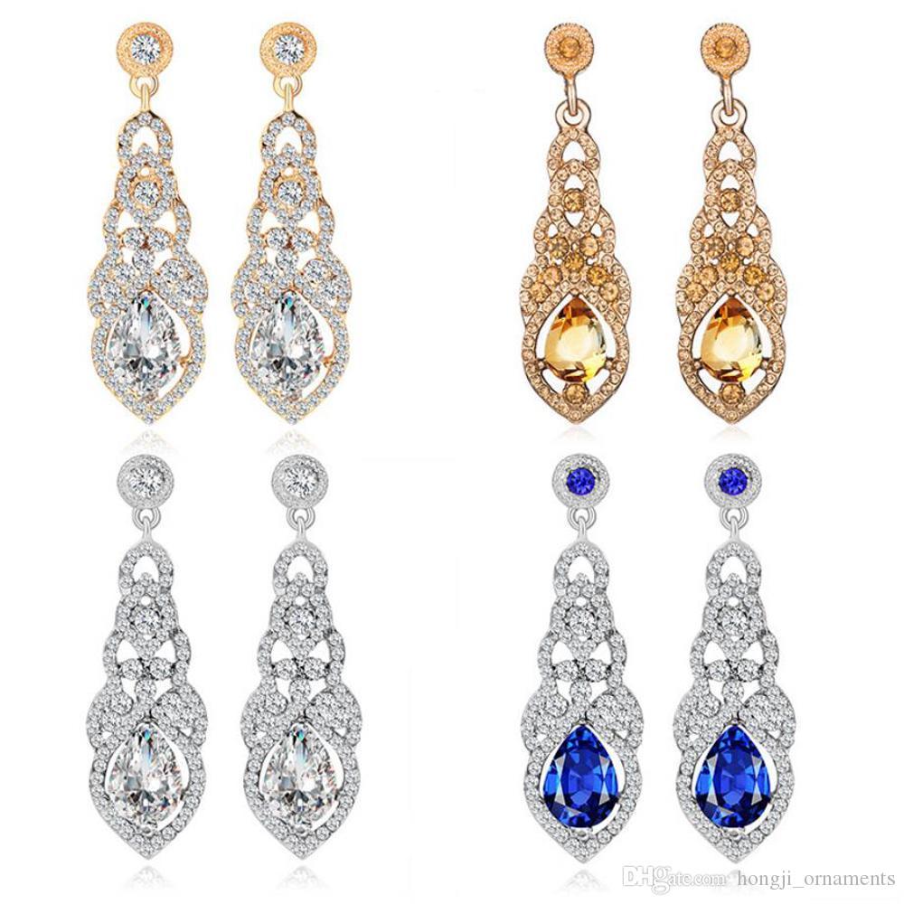 Penzolare lampadario orecchino pendente acqua-goccia modificando materiale lega di colore dell'oro argento di cristallo blu bianco placcato per accessorio matrimonio