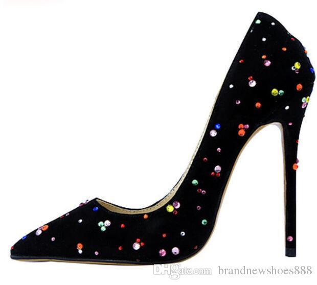 Neue Mode Elegant Schwarz Abendkleid Schuhe Pumps Bunte Kristalle Spitz Prom Schuhe High Heels Für Frauen