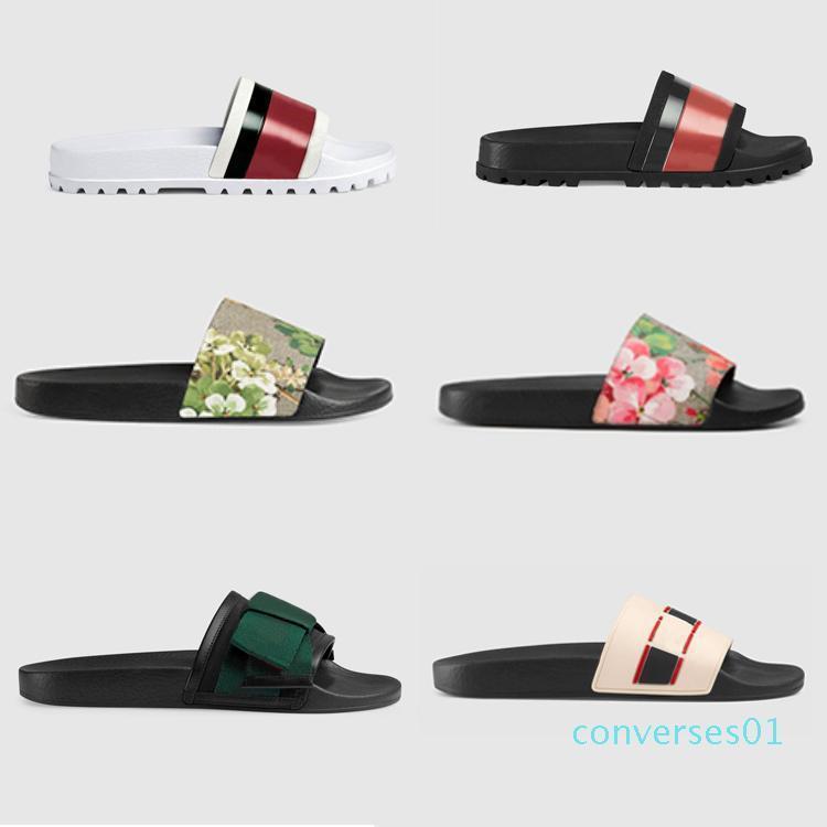 Designer Designer gomma scorrevole sandalo broccato floreale uomini ingranaggi fondo Infradito donna a strisce della spiaggia causale pantofola con la scatola US5-11 CC9