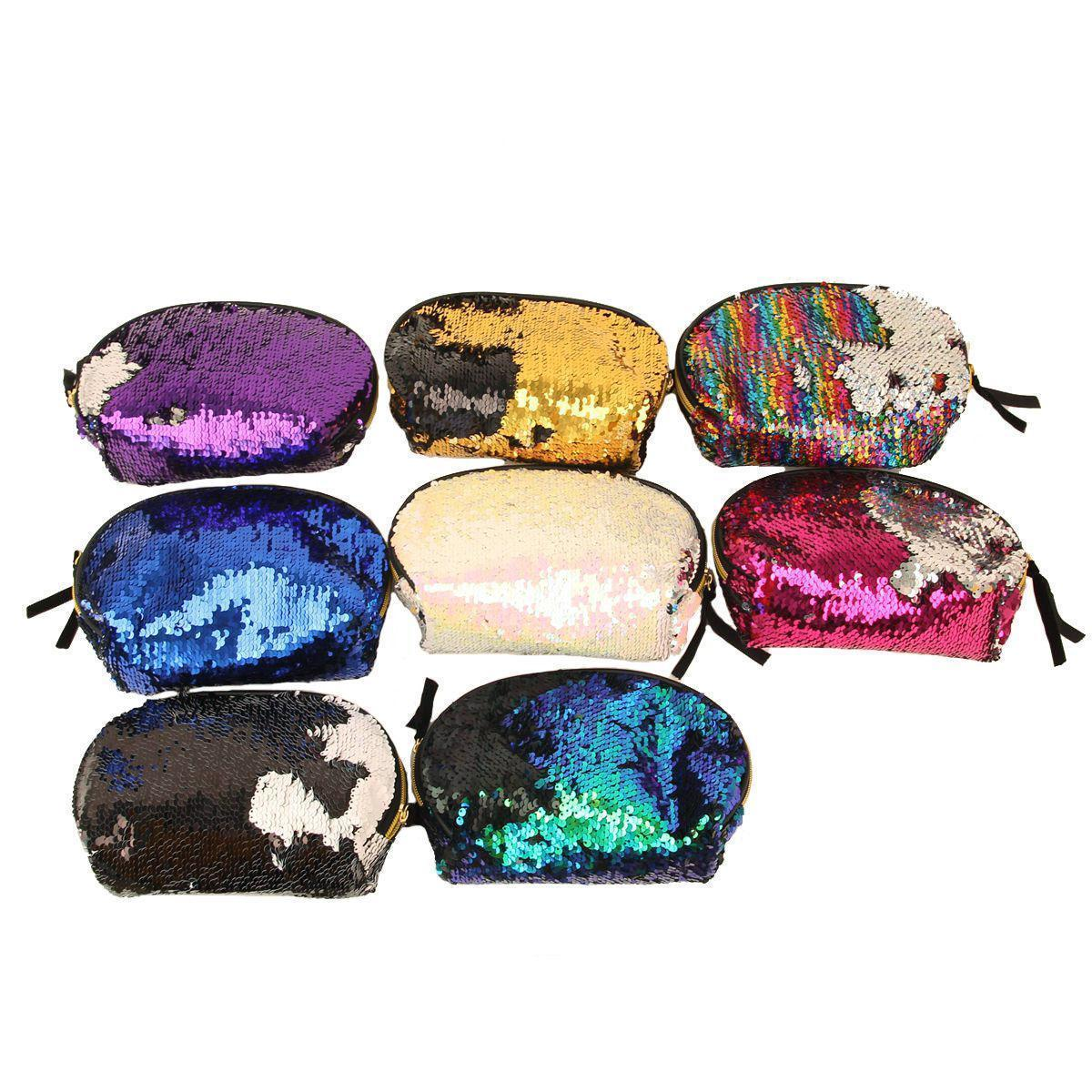 8styles Mermaid Sequin Cosmetic Bag Glitter Makeup Case Purse Bling Storage Organizer Glitter Bling Shell Pouch Wedding Clutch Bag Ffa562