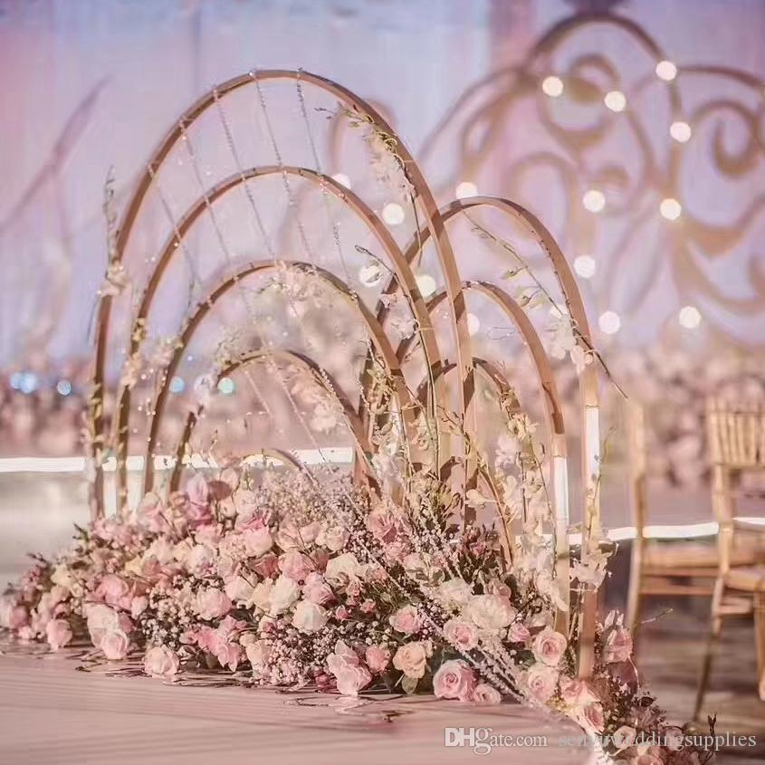 New style Fashion Flower Wreath Artificial Metal Pearl Wreath Frames For Wedding floral stand table walkway stage decoration senyu0108