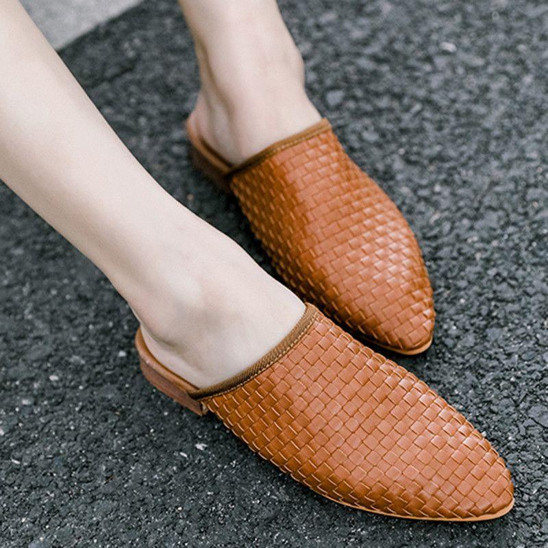 Las mujeres atractivas del talón bajo de cuero bombea los zapatos de las señoras mulas Weaving Diapositivas partido Zapatilla cuñas sandalias de la plataforma Zapatos De Mujer 516w