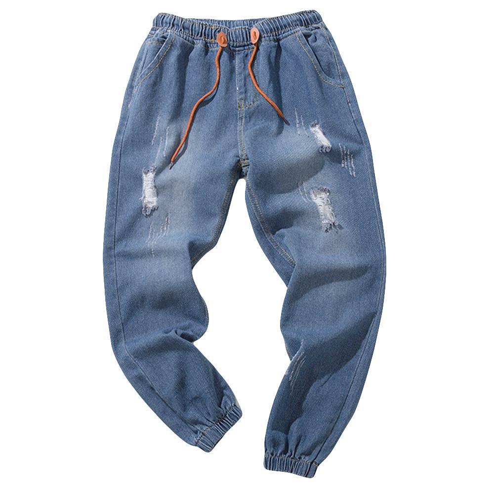 Compre Jeans Hombre Tallas Grandes Hombre Casual Hombre Casual Jeans Para Pantalones De Cordon De Mezclilla Pliegues Lavar Pantalones De Trabajo Homme A 22 84 Del Berniee Dhgate Com