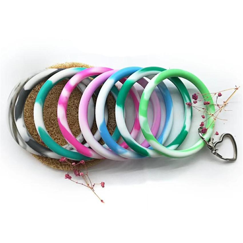 Multiple Colour Key Ring Chain Wristlet Keyring Bangle - Silicone Bracelet Keychain Round Key Rings Hot Sale