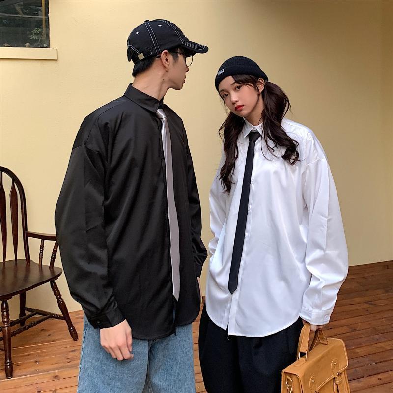 Korean Clothes Plain Class Suit Letter Print Dress Shirt for Mens Black Camisas Loose Blouse White Button Up Shirt Including Tie