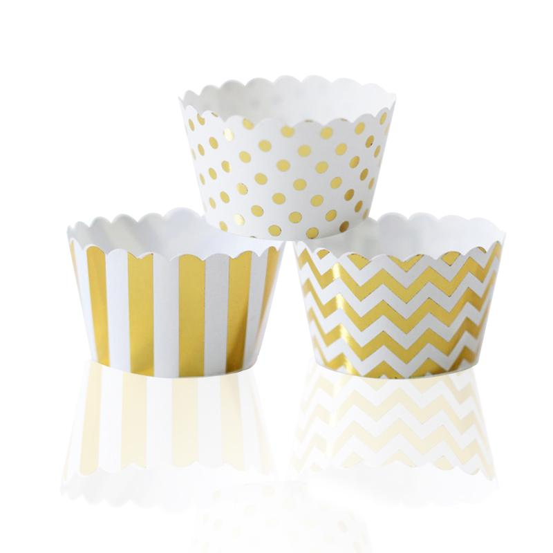 108pcs Foiled Cupcake Wrappers/Holders Metallic Gold Mixed Chevron Polka Dots & Stripes Cupcake Liners Wedding Birthday Decor