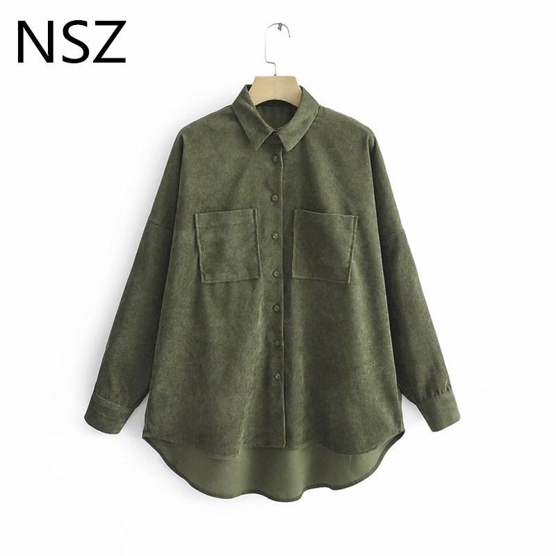 NSZ женщины вельветовая куртка блузка негабаритных рубашка с длинным рукавом отложным воротником с карманом повседневная мода дамы топ camisa blusa Y200402