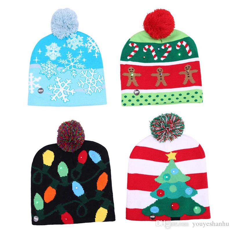 Beanie Christmas Decorations Knitting Led Lamp Cap Christmas Tree Snowman Adult Children Hat Santa Claus Luminous Hats